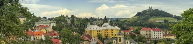 Baroque calvary and Banska Stiavnica, Slovakia royalty free stock photos