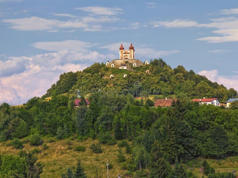 Calvary on Scharffenberg hill in Banska Stiavnica, Slovakia. Baroque Calvary on Scharffenberg hill in Banska Stiavnica, Slovakia stock images
