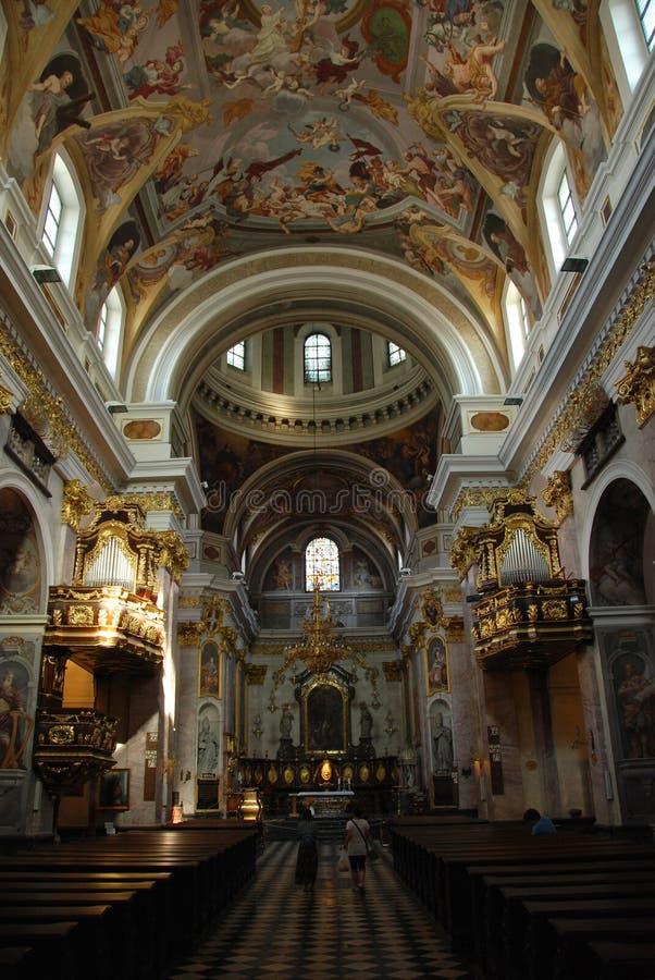 Baroque cathedral. Lavish interior of the roman catholic Ljubljana Cathedral in Slovenia royalty free stock image