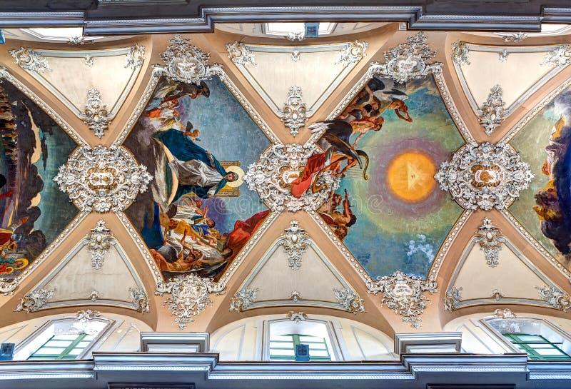 Baroque ceiling Basilica della Collegiata, Catania, Sicily, Italy royalty free stock images