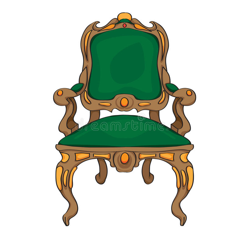 Baroque chair. Colored doodle, hand drawn illustration of an antique furniture piece with green upholstery, decorated with colored ornaments stock illustration