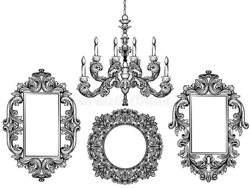 Baroque Chandelier And Mirror Frames. Detailed Rich Ornament Vector ...