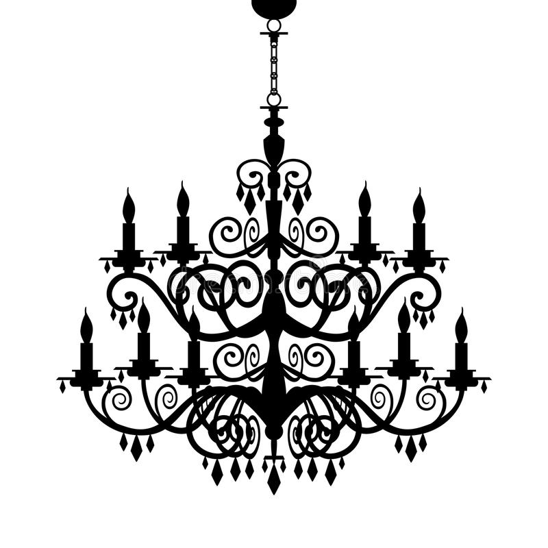 Baroque chandelier silhouette vector illustration