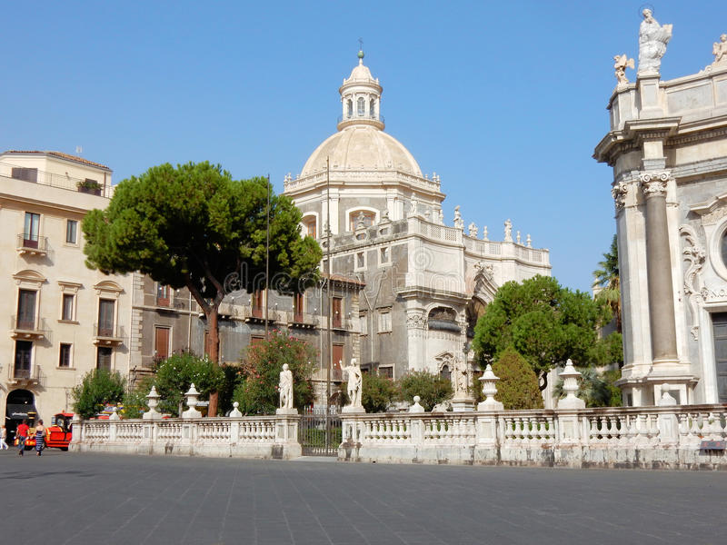 Baroque Church of the abbey of Sant Agate -Catania - Sicily, - southern Italy. Baroque style Church of the abbey of Sant Agate - parvise – tuin en beelden royalty free stock photography