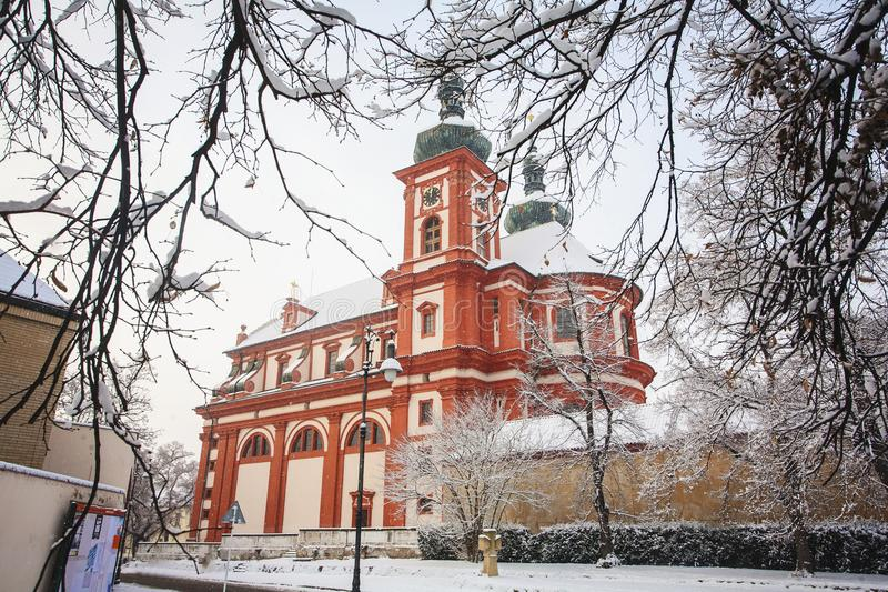 Baroque church Saint Mary, Brandys nad Labem Stara Boleslav. Czech republic in winter time stock images