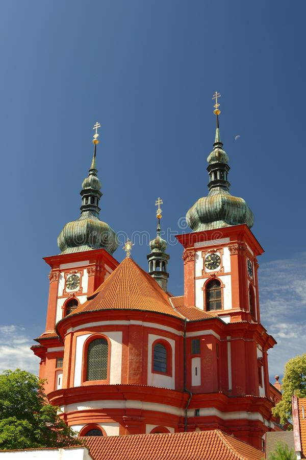 Baroque church Saint Mary, Stara Boleslav, Czech republic. View from east stock photos