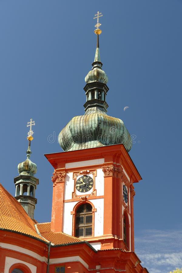 Baroque church Saint Mary, Stara Boleslav, Czech republic. Tower detail stock photos