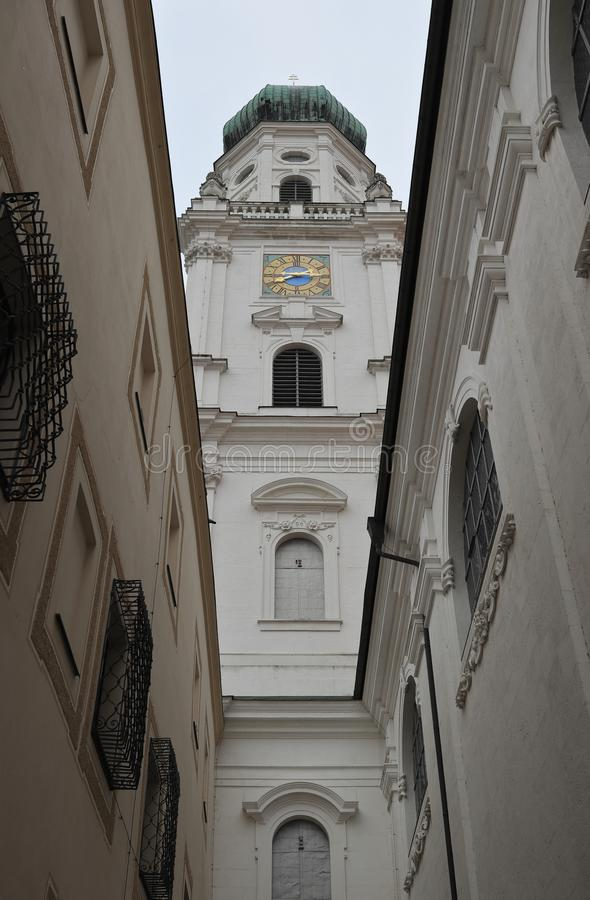 PASSAU, BAVARIA, GERMANY - MARCH 12, 2019: Perspective view of St. Stephen`s Cathedral, one of the main sights in Passau. royalty free stock photo