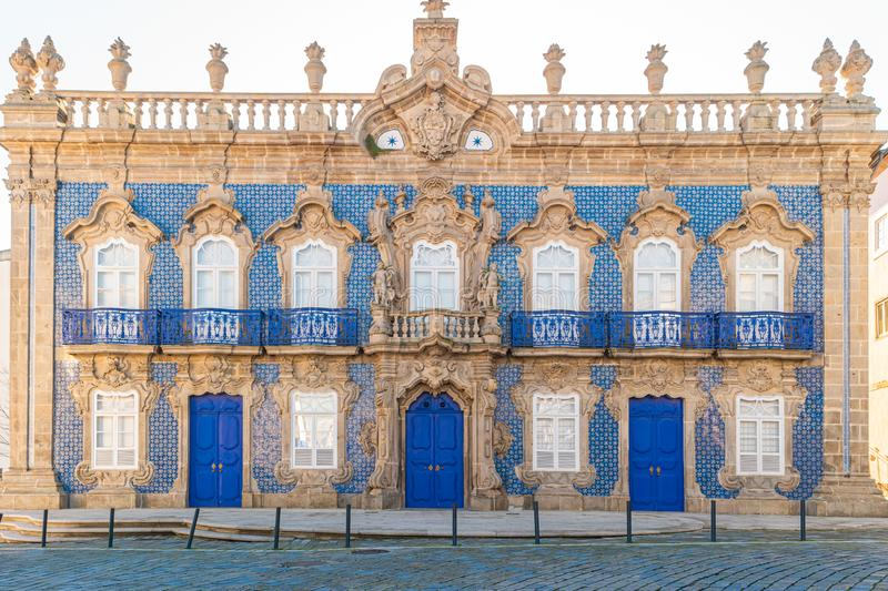 Baroque City Palace Raio in the streets of Braga in Portugal. Architecture of Braga Portugal. The city was the European Youth. Capital in 2012 stock photo