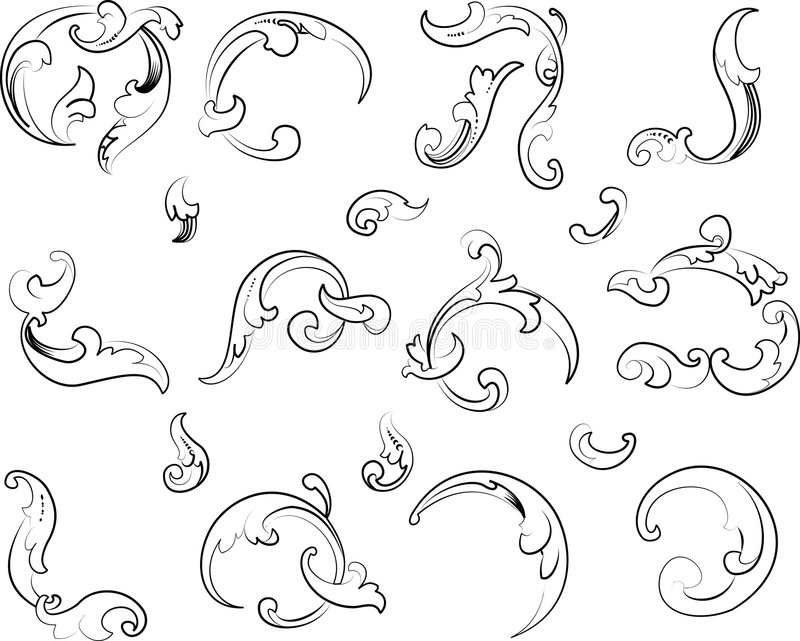 Baroque Clipart. Calligraphy Style. stock illustration