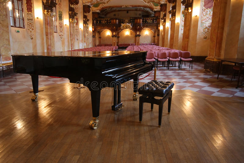 Baroque concert hall with grand piano (in University of Wroclaw, Poland) stock images
