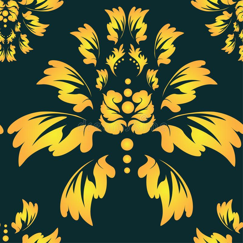 Baroque, damask wallpaper. Traditional oriental ornament. Classic vintage background stock image