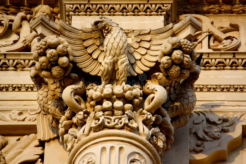 Baroque detail in Lecce, Italy stock images