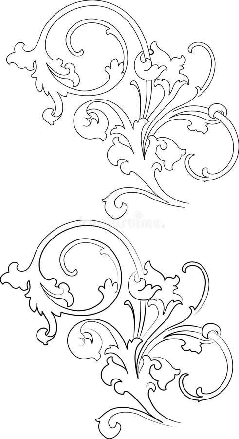 Baroque due stili: Tradizionale e calligrafia. illustrazione di stock