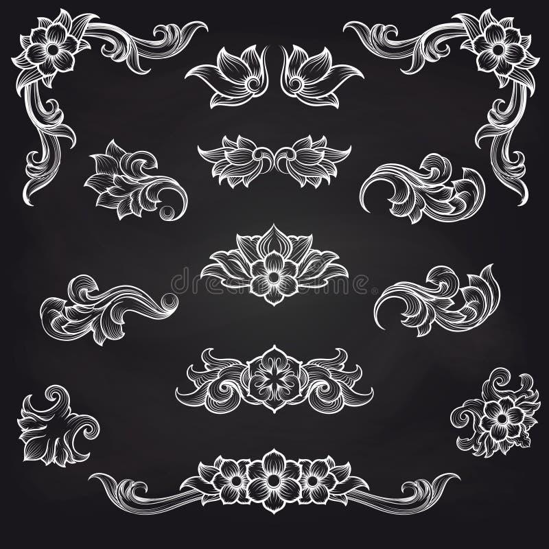 Baroque engraving leaf scroll design vector illustration