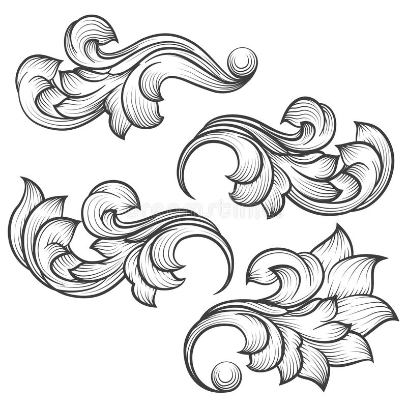 Baroque engraving leaf scroll stock illustration