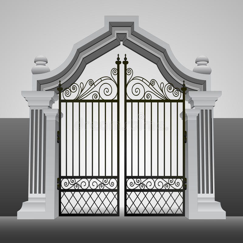 Baroque entrance gate with iron fence vector royalty free illustration