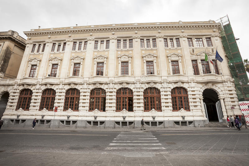 Baroque facade historic building, city center Catania, Sicily. Italy royalty free stock images