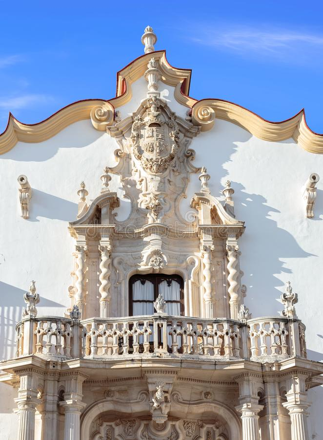 Baroque facade of the Marques de la Gomera Palace in Osuna. Ducal town declared a Historic-Artistic Site. Southern Spain stock image