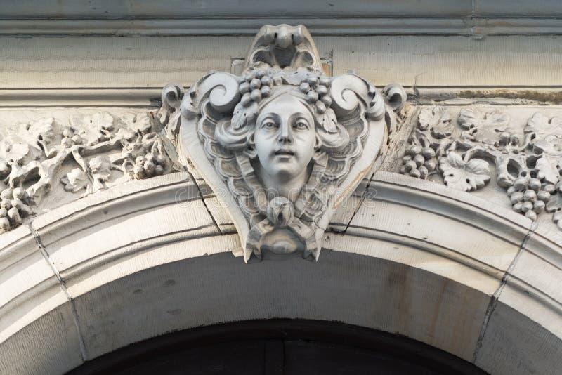 Baroque Head on Doorway, 17 Jasna, Warsaw, Poland stock image
