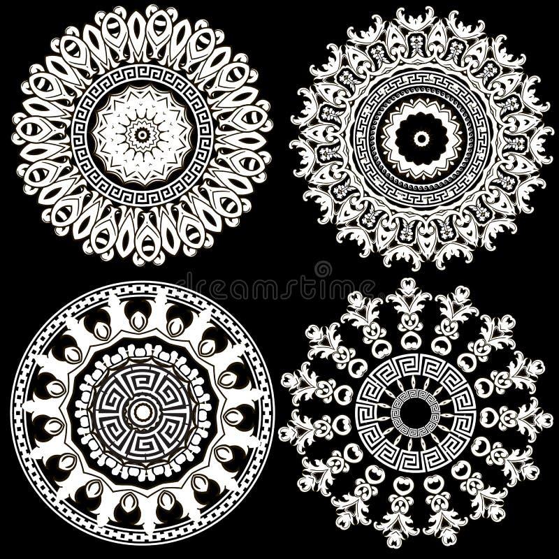 Baroque floral round mandalas set. Antique baroque Victorian style flowers, leaves. Old flourish ornament. Vector decorative vector illustration