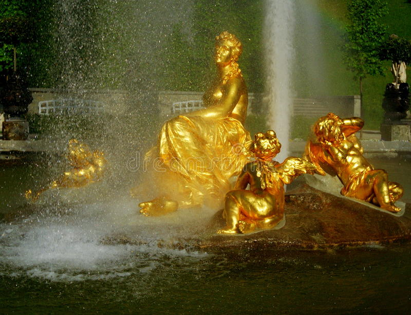 Baroque Fountain. A Baroque fountain at Linderhof Palace, Germany. The palace and its park are located in southwest Bavaria near Ettal Abbey. It is the smallest royalty free stock photo