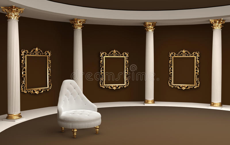 Download Baroque Frames On Wall Gallery Museum Stock Illustration - Image: 22050923