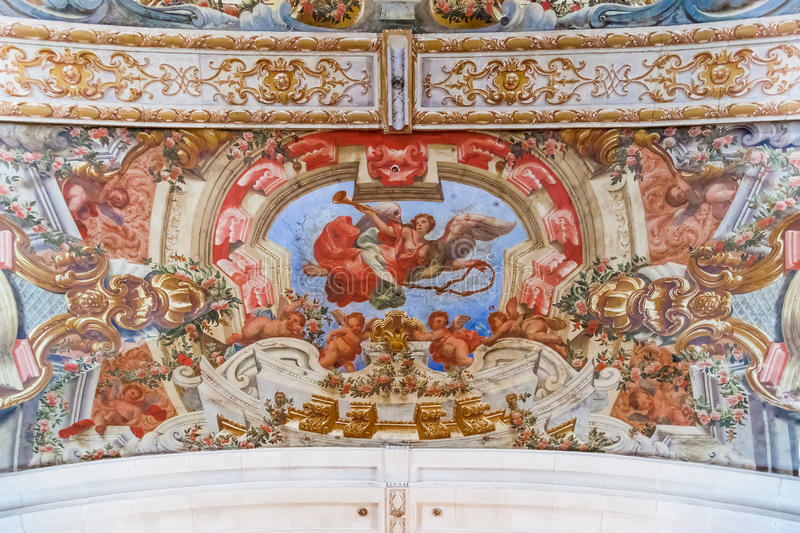 Baroque frescoes in the ceiling of Hospital de Jesus Cristo Church. 17th century Portuguese Mannerist architecture called Chao. Santarem, Portugal stock photo