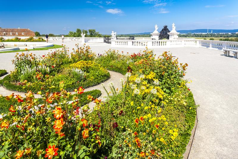 Baroque garden of Hof Palace, Lower Austria, Austria. Outdoors outside exteriors europe central schloss flora vegetation plant flower flowerbed balustrade royalty free stock photography