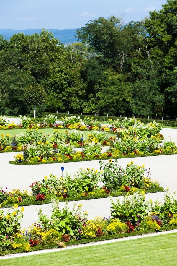 Baroque garden of Hof Palace, Lower Austria, Austria. Outdoors, outside, exteriors, europe, central, schloss, natural, flora, vegetation, plant, flower royalty free stock photos