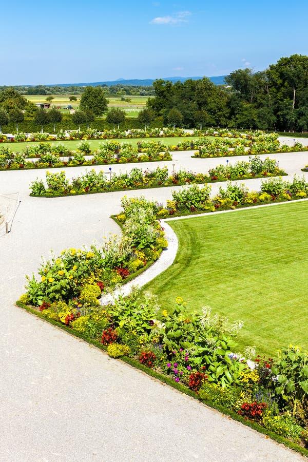 Baroque garden of Hof Palace, Lower Austria, Austria. Outdoors, outside, exteriors, europe, central, schloss, flora, vegetation, plant, flower, flowerbed stock images