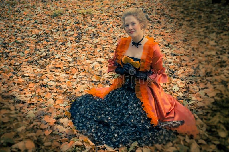 Baroque girl outdoor royalty free stock photos
