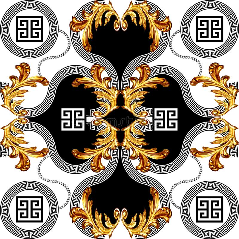 Free Baroque Gold Color With Greek Design Pattern Stock Photography - 175649712