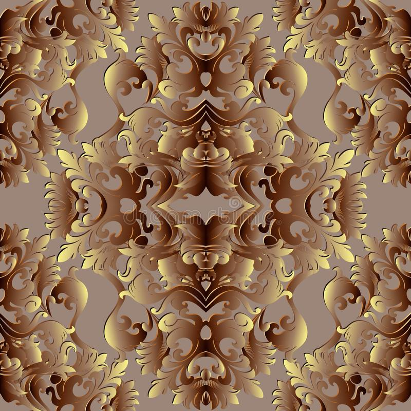 Baroque gold 3d seamless pattern. Floral vector background wallpaper with vintage damask flowers, scroll leaves, antique ornament. S in baroque style. Surface stock illustration