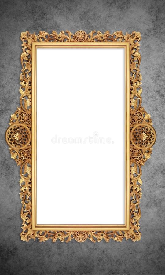 Baroque Golden Frame in Grunge Retro Vintage background stock images