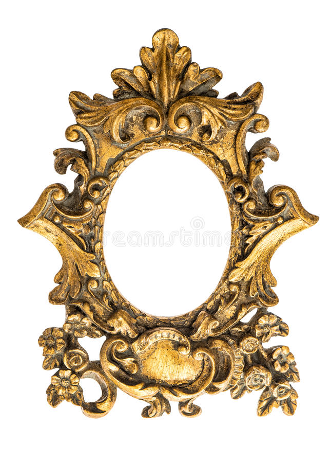 Baroque golden frame isolated on white background. Antique object royalty free stock photo