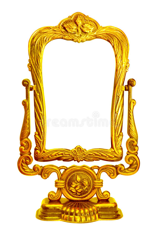 Baroque golden mirror frame. On stand on white isolated background stock photo