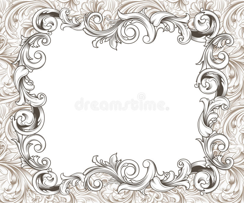 Baroque Horizontal Frame Ink Drawing. Ornate baroque or rococo frame of hand drawn engraved flourishes vector illustration