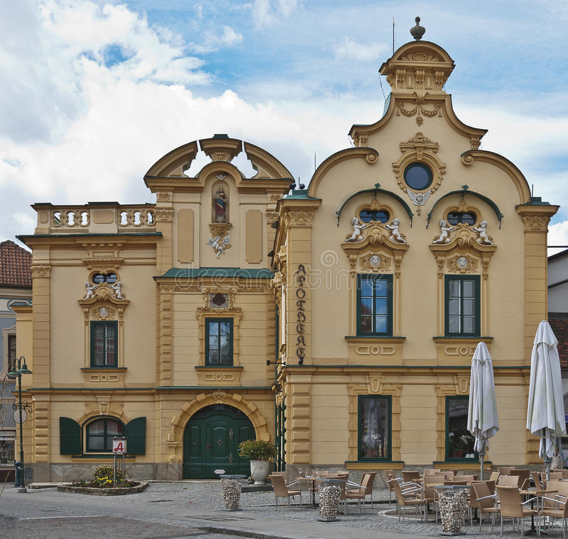 Baroque house with pharmacy. At Hartberg, Styria, Austria stock photography