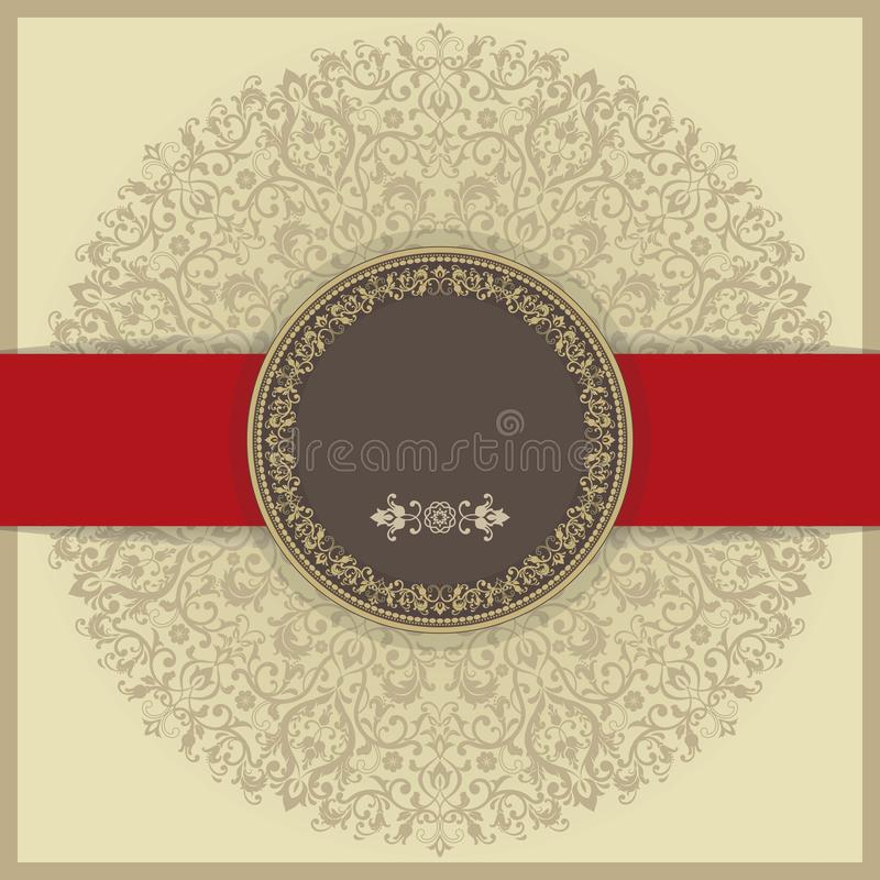 Baroque invitation card in old-fashioned style, gold background and red line vector illustration