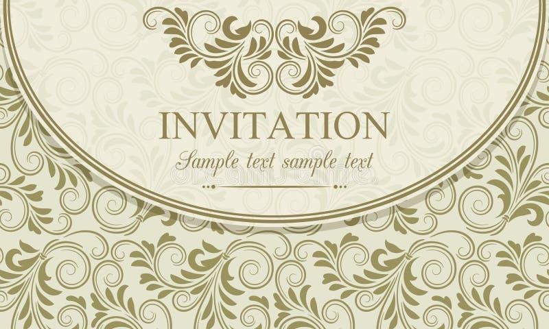 Baroque invitation, gold and beige. Antique baroque invitation envelope, gold on beige background stock illustration