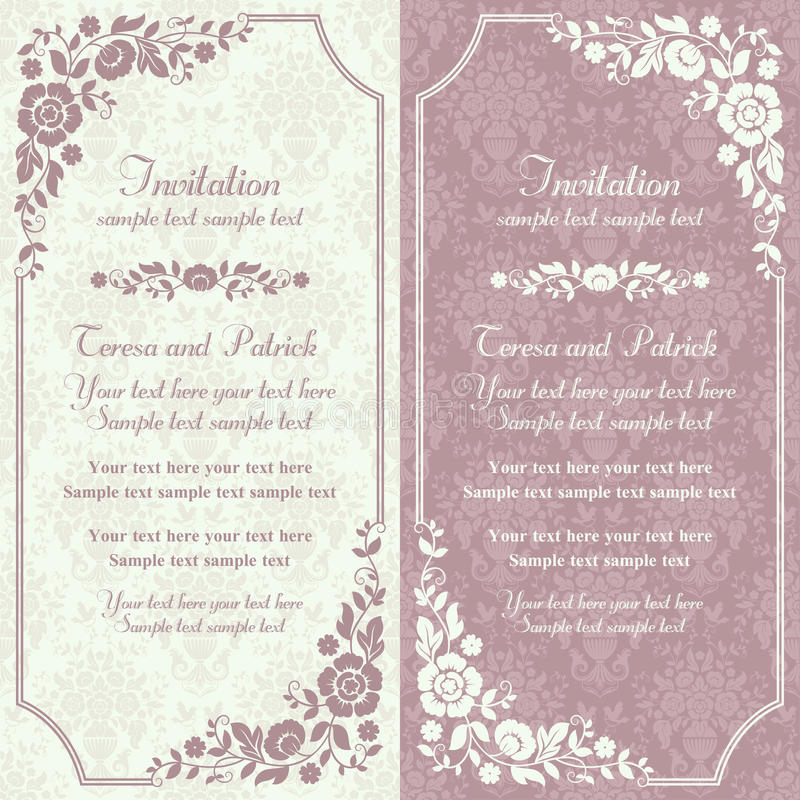 Baroque invitation, pink and beige. Antique baroque invitation card in old-fashioned style, pink and beige stock illustration