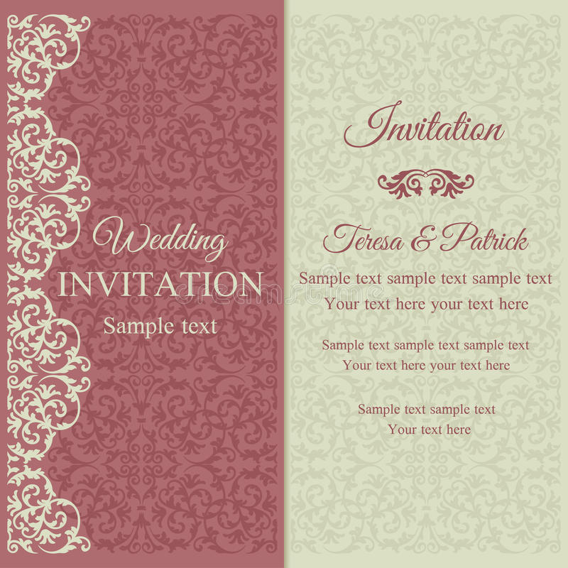 Baroque invitation, pink and beige. Baroque invitation card in old-fashioned style, pink and beige stock illustration