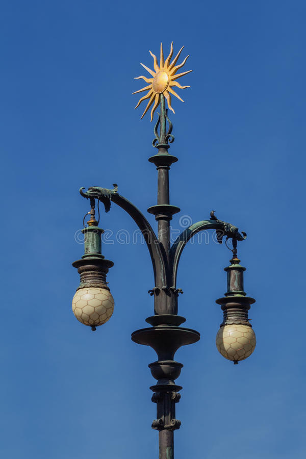 Free Baroque Lamp With Ornament Of Gold-plated Sun. Prague. Royalty Free Stock Photos - 91782048
