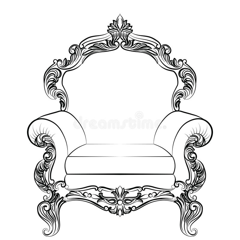 Baroque luxury style armchair furniture royalty free illustration