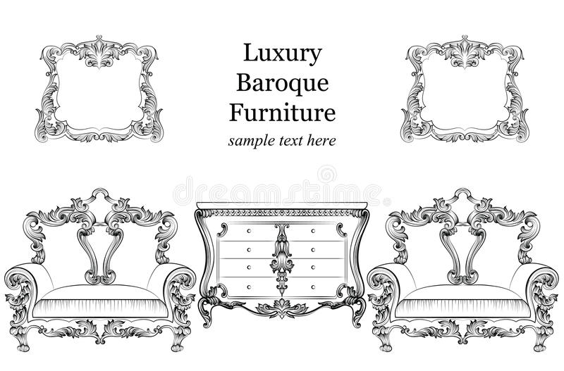 Baroque luxury style furniture set collection. Upholstery with luxurious rich ornaments. French carved decoration. Baroque luxury style furniture set collection stock illustration