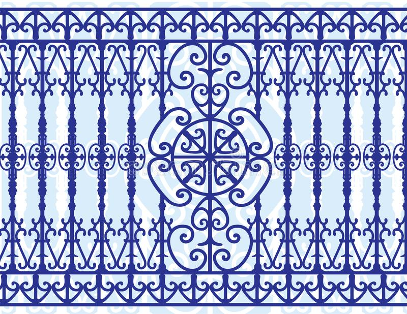 Baroque metal grating or grille. Baroque metal grating or Talavera blue tiles for background stock photos
