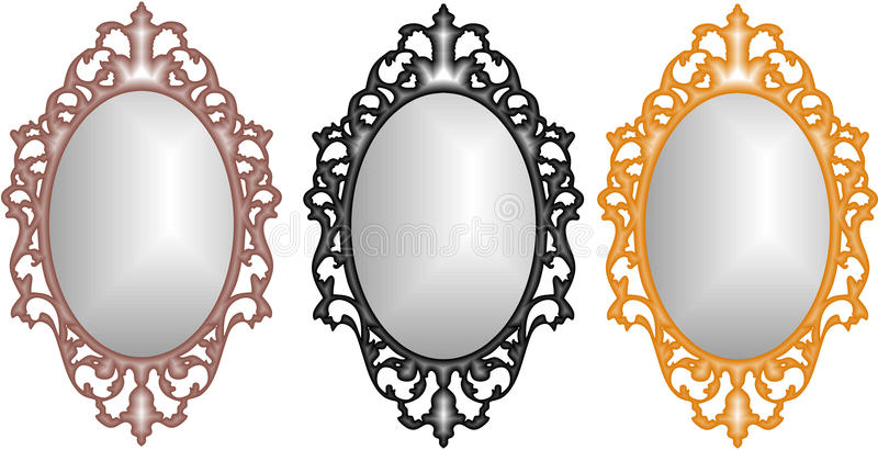 Baroque Mirrors. Gold, Rose Gold and Silver royalty free illustration