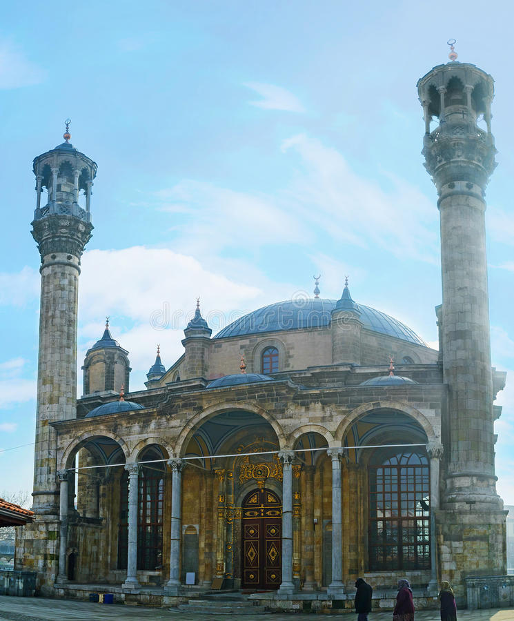 The baroque mosque in Konya. KONYA, TURKEY - JANUARY 20, 2015: The Aziziye Mosque boasts the unusual architectural mix of styles - ottoman and baroque, on stock photography