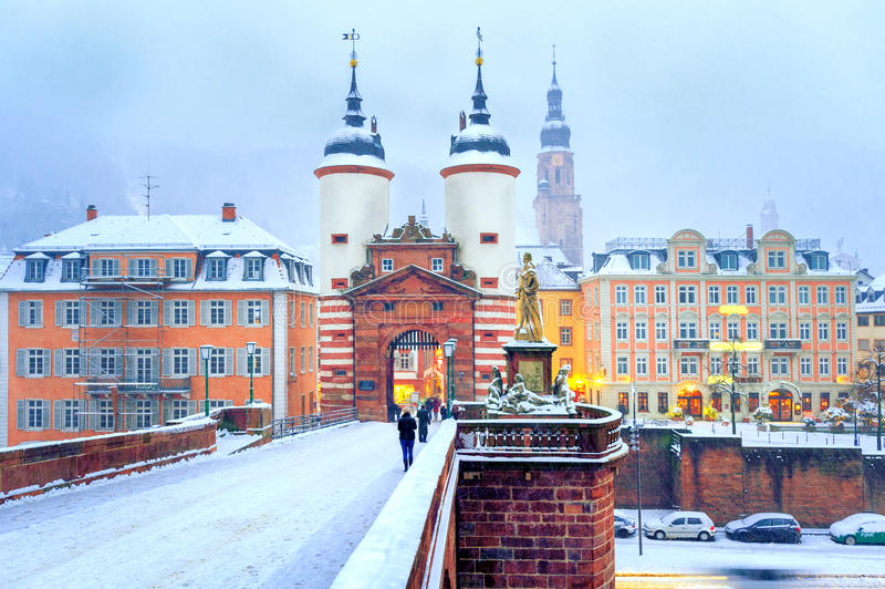 Baroque old town of Heidelberg, Germany, in winter. Picturesque baroque style Old Town of Heidelberg, Germany, snow white in winter royalty free stock photography